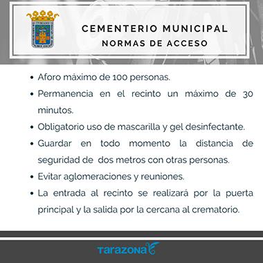 COVID - NORMAS DE ACCESO cementerio Tarazona