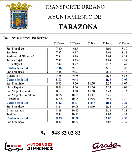 Horario Bus Urbano 2020 - Tarazona
