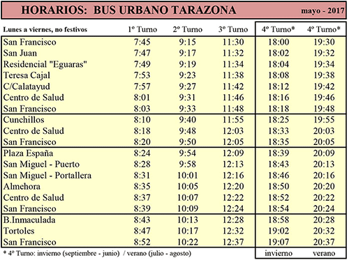 Ayuntamiento de tarazona - Horario de autobus urbano
