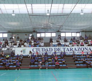 El Polideportivo de Tarazona estrena nuevas gradas telescópicas.