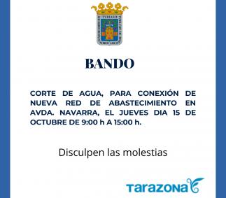 Corte de agua en Avda. Navarra