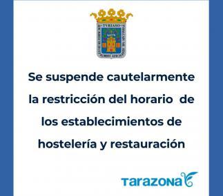 Se suspende cautelarmente la restricción del horario de  los establecimientos de Hostelería y Restauración
