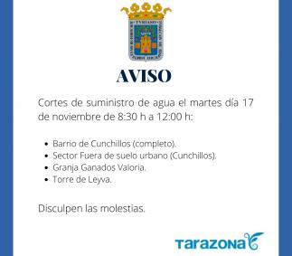 Corte de suministro de agua zona Cunchillos