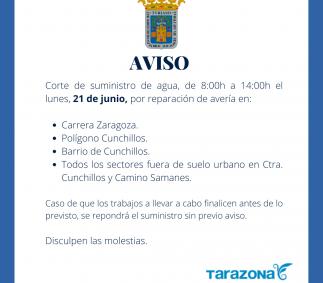 CORTE DE SUMINISTRO DE AGUA 21 DE JUNIO