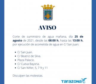 Corte de agua ejecución acometida C/ San Juan