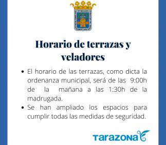 Horario de terrazas y veladores en Tarazona