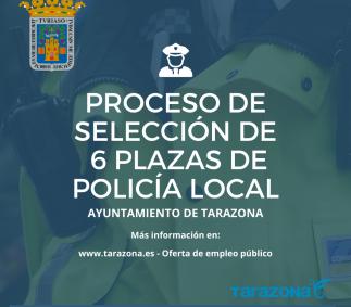 Proceso de selección de 6 plazas de Policía Local en Tarazona