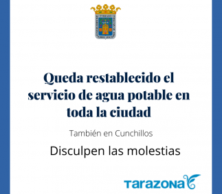 Queda restablecido el servicio de agua en toda la ciudad.