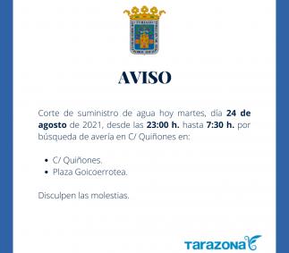 Corte de suministro de agua en C/ Quiñones y plaza Goicoerrotea