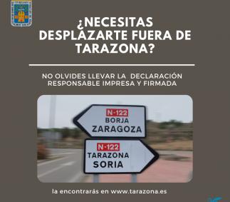 Declaración responsable para desplazamientos