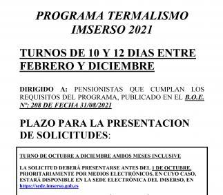 Programa Termalismo Inserso 2021